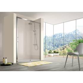Mampara de ducha Kassandra frontal 1 fijo+1corredera cristal transparente modelo 400