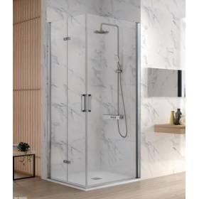 Mampara de ducha Kassandra frontal 2 puertas plegables en cristal transparente modelo Nardi